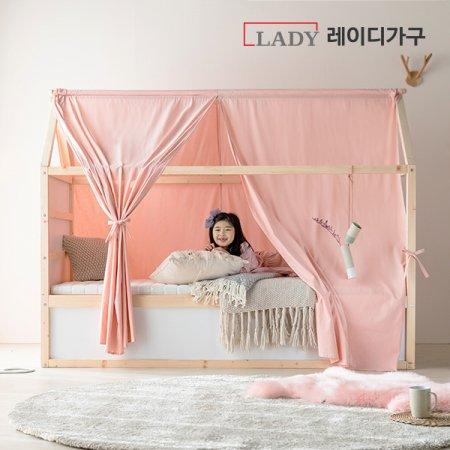 마네 양면 싱글침대 +캐노피 +견면매트 _심플내추럴/그레이