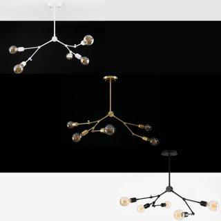 라헨느5등 인테리어조명 3Type 바디 블랙:LED벌브 하얀빛